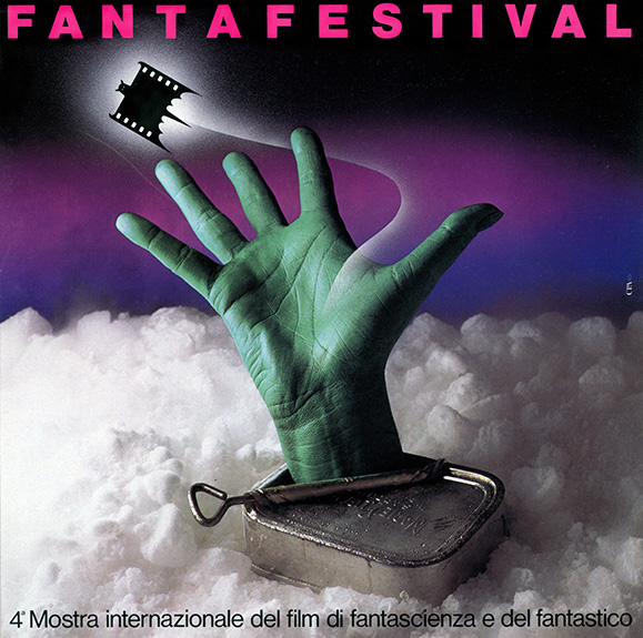 "Poster & book cover for the fourth edition of ""Fantafestival"" - CPA Rome, Italy © 1984 Sergio Petrelli"